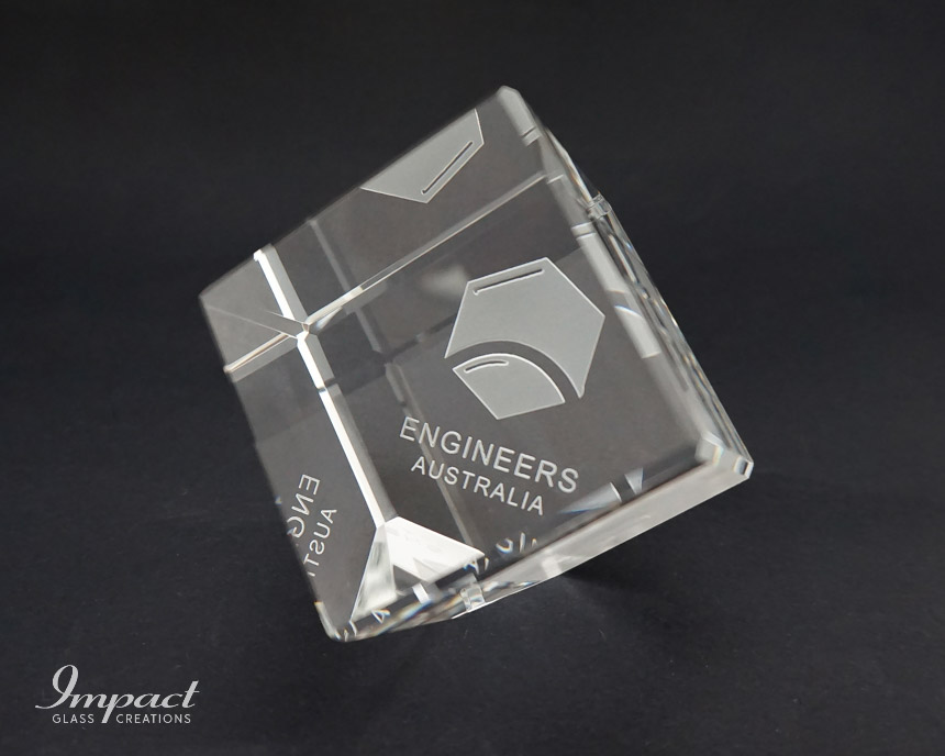 engineers-australia-crystal-glass-cut-cube-paperweight-engraved-etched-logo-2